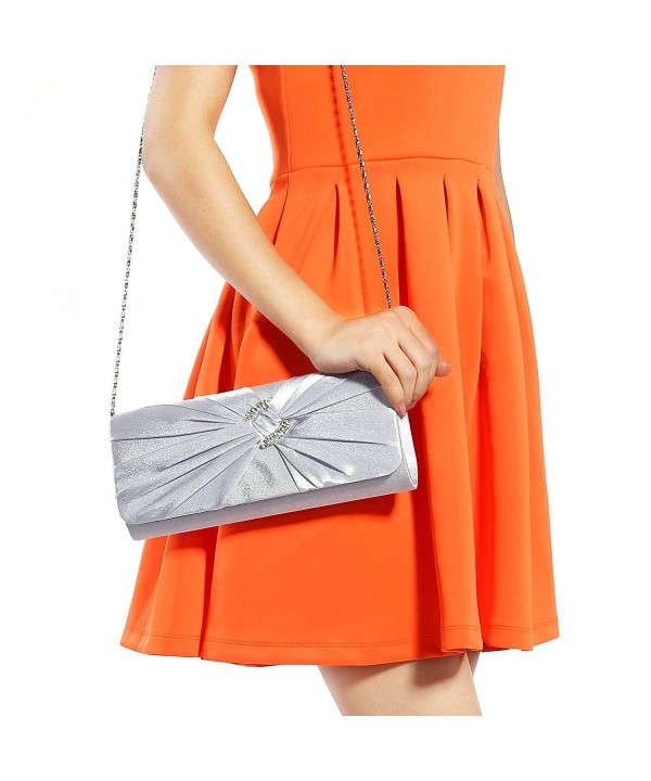 Anladia Diamante Pleated Evening Handbag