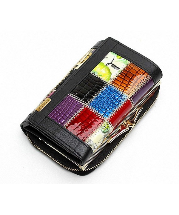 Genuine Leather Wallets Patchwork Pocket