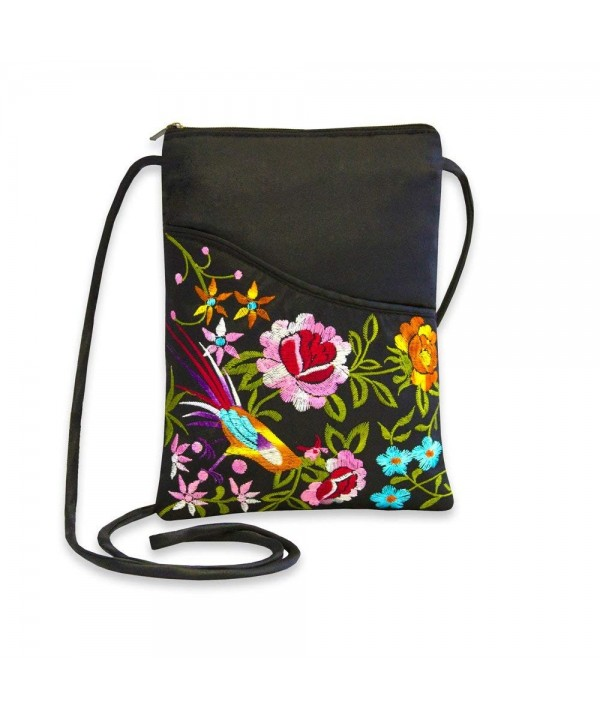 Embroidered Floral Travel Crossbody Black