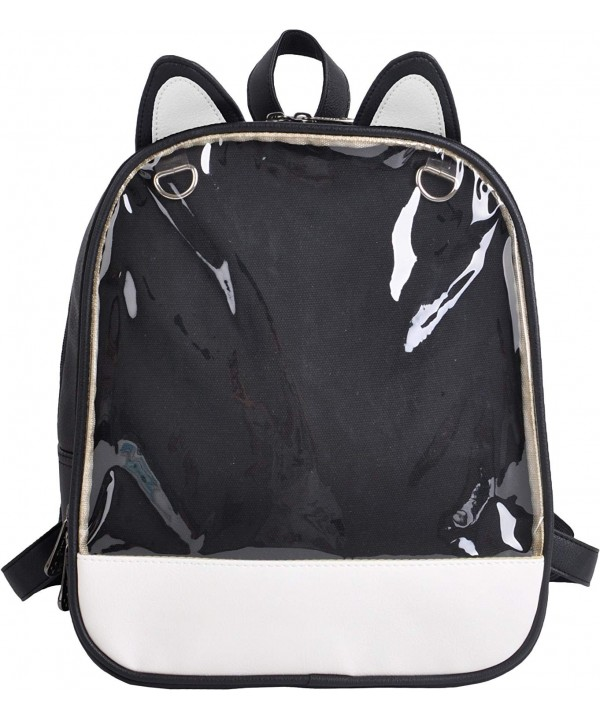 'Ita-Bag' Backpack with Cat Ears and Transparent Front Pocket - Black -  CY184A3AZIQ