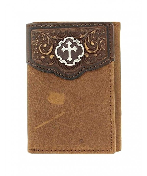 Nocona Trifold Embossed Concho Distressed