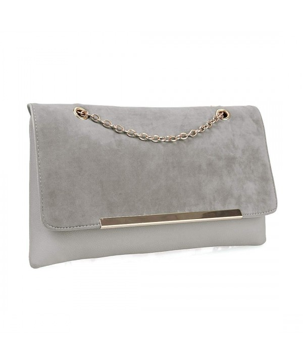 f4d5b13179 Large Faux Suede Leather Gold Metal Chain Accent Envelope Clutch ...