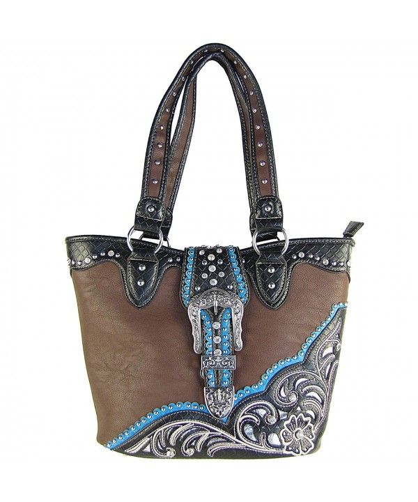 Buckle Concho Rhinestone Shoulder Handbag