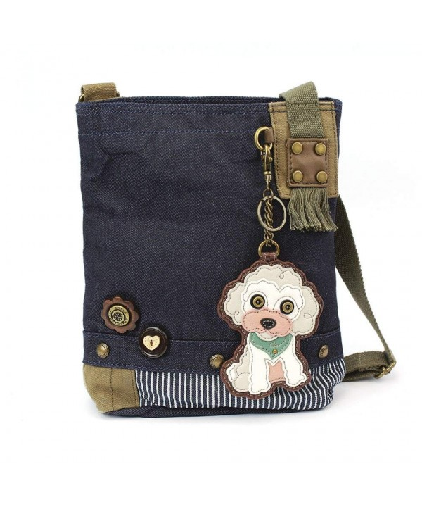 Cross Body Handbag Canvas Messenger Poodle