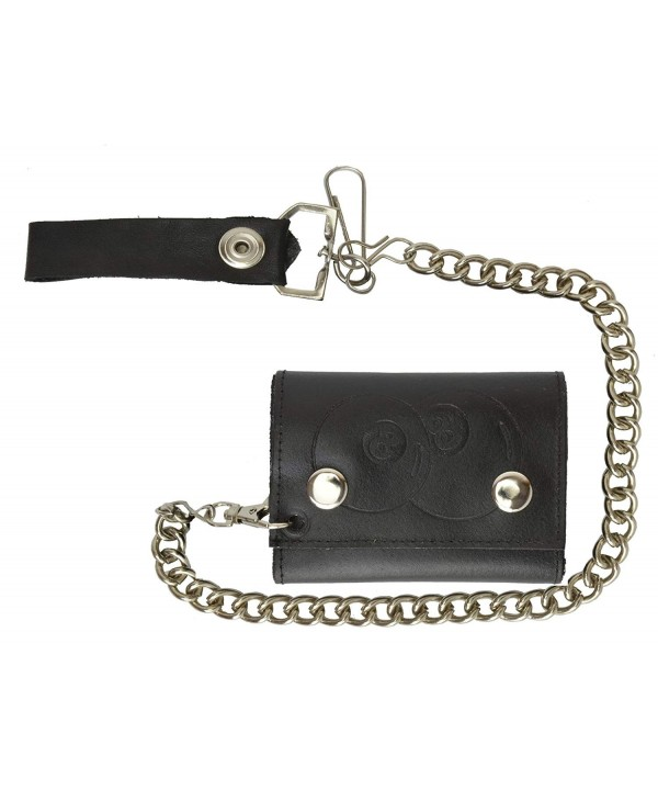 Leather Tri fold Chain Wallet 946 14