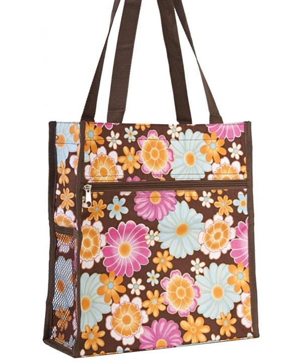 Floral Print Tote Bag Brown