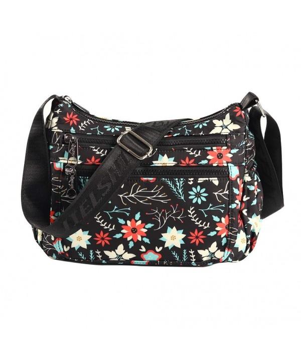 29d88613d854 Nylon Crossbody Purse Multi-Pocket Waterproof Travel Shoulder Handbags  Fashion Messenger Bags for Women - Black - CO18HM229XR