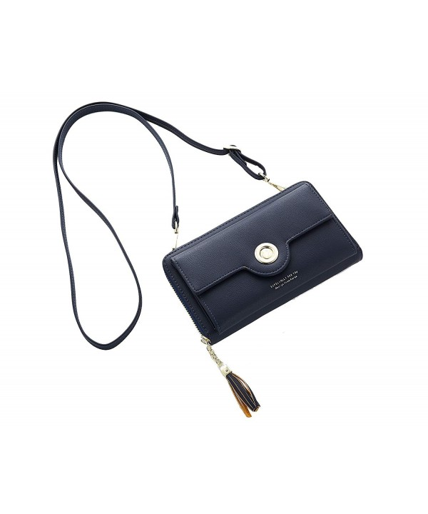 Crossbody Shoulder Leather Cellphone Darkblue