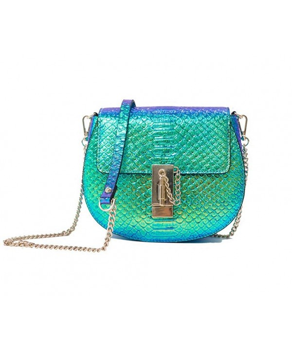 Genuine Leather Snakeskin Crossbody Hologram