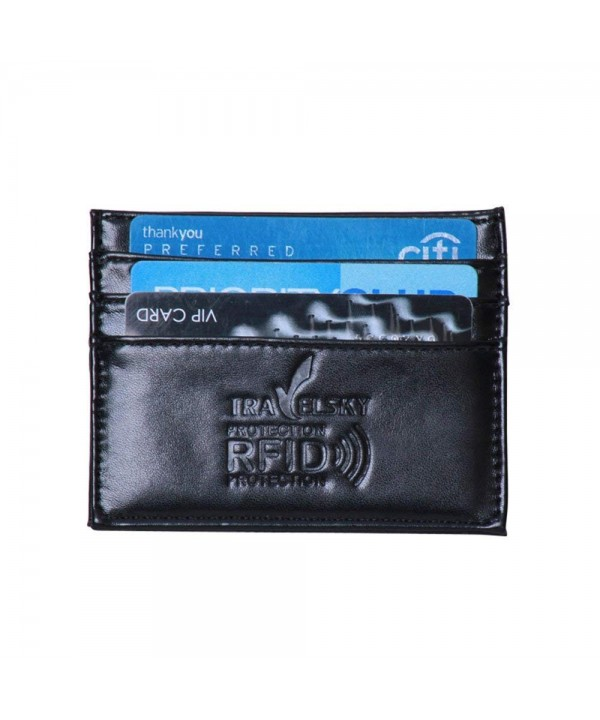 Blocking Leather Minimalist Wallets Holder Black