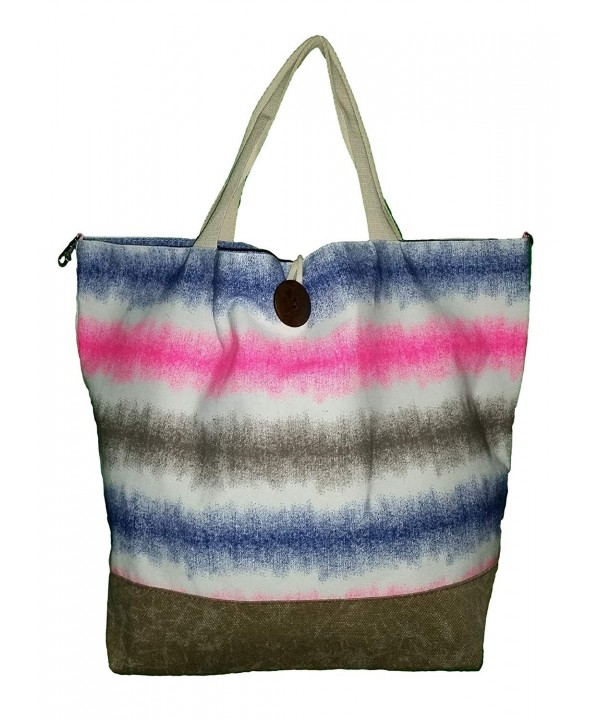 Striped Canvas Beach Button Closure