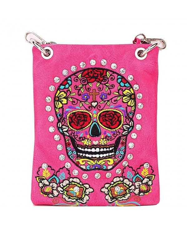 Paradise Sugar Skull Embroidery Messenger x