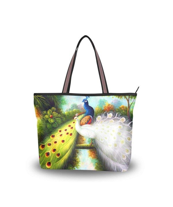 Handle Shoulder Peacock Patern Handbag