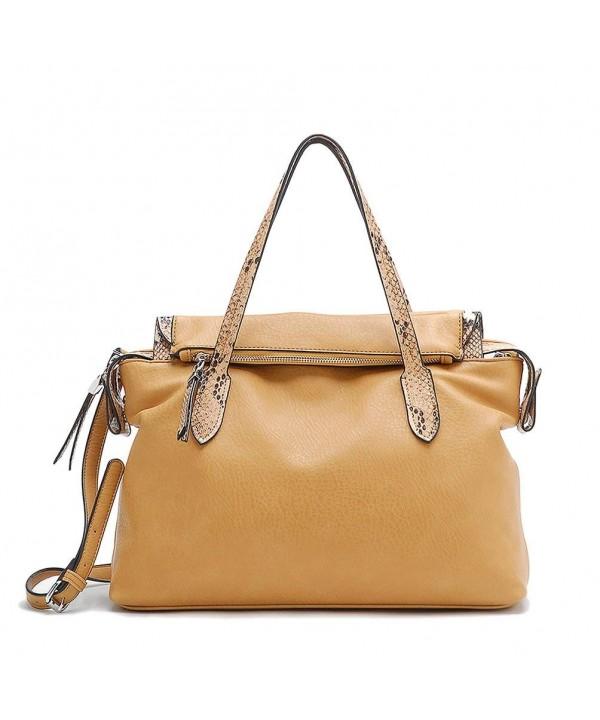 Tosca Python Trimmed Satchel Handbag
