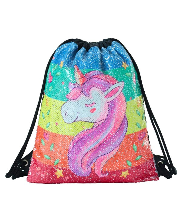 Drawstring Reversible Backpack Glittering Outdoors