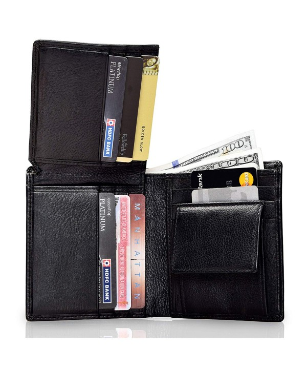 Leather Bifold Trifold Wallet Passport