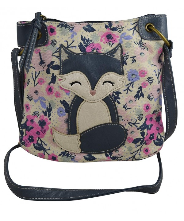 Womens Girls Messenger Handbag Fox Multi