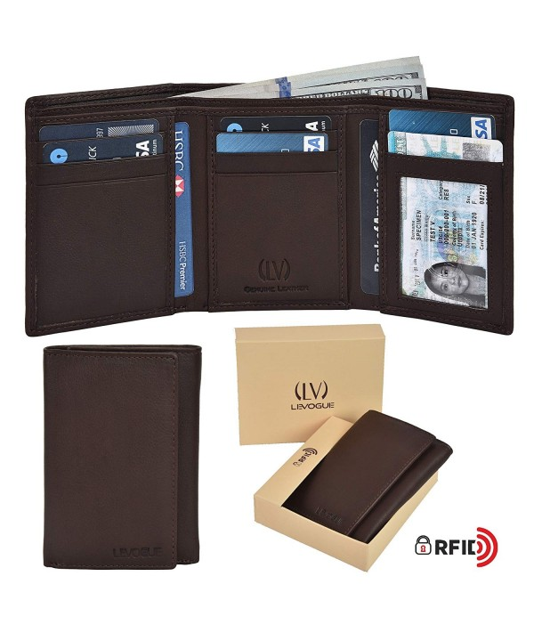 Genuine Leather Blocking Trifold Compartments