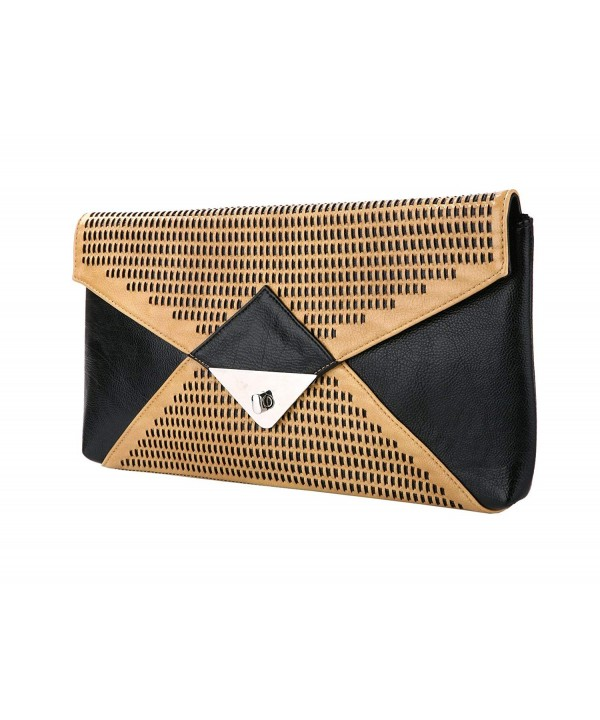 Leather Woven Envelope Clutch Closure