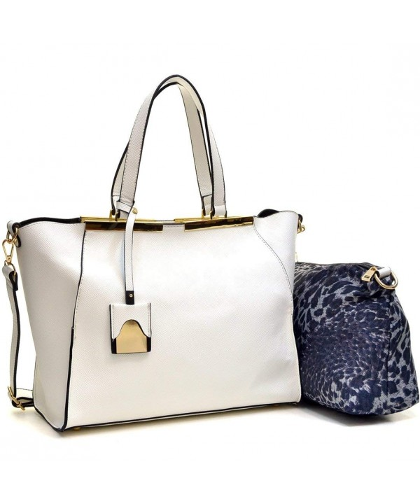 Dasein Crosshatch Gold Tone Colorblock Satchel