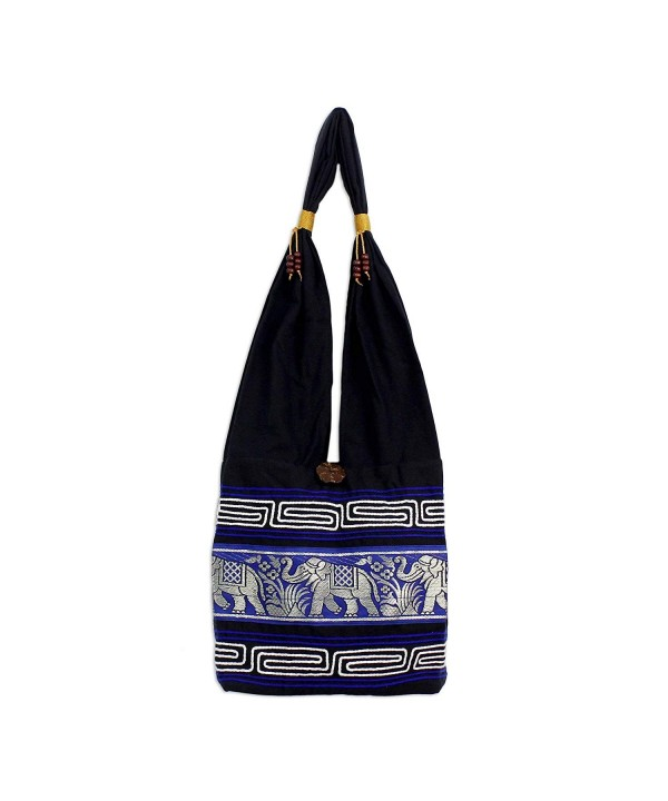 NOVICA Elephant Cotton Sling Handbag