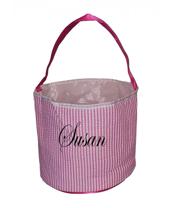 Personalized Childrens Seersucker Bucket Tote