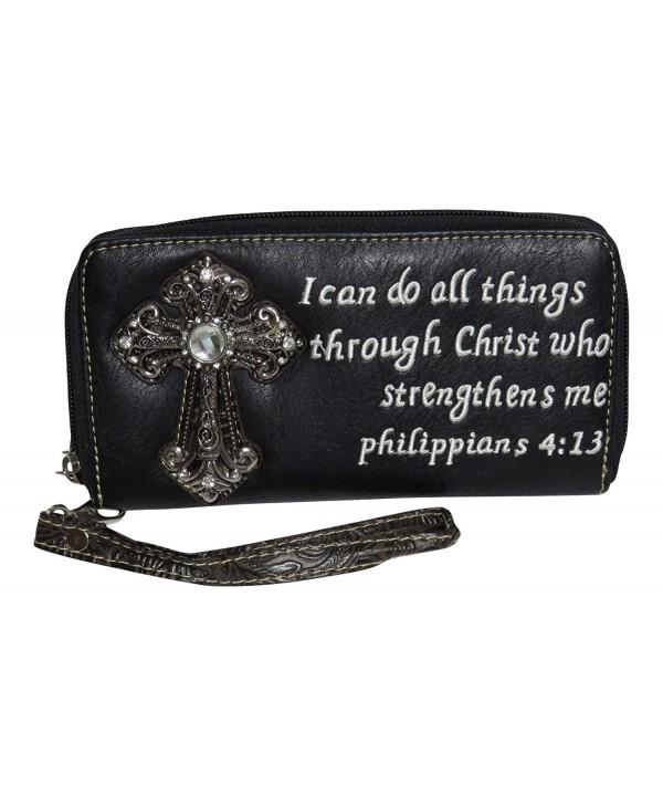 79ea7bf0b8a8 Rhinestone Cross Phil 4:13 Double Zip Around Accordian Wallet Billfold  Accessories - Black - CI120FIJN65