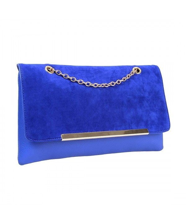 Leather Accent Envelope Clutch Handbag
