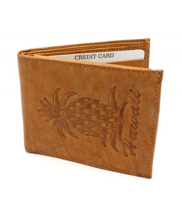 Bifold Genuine Leather Pineapple Embossed