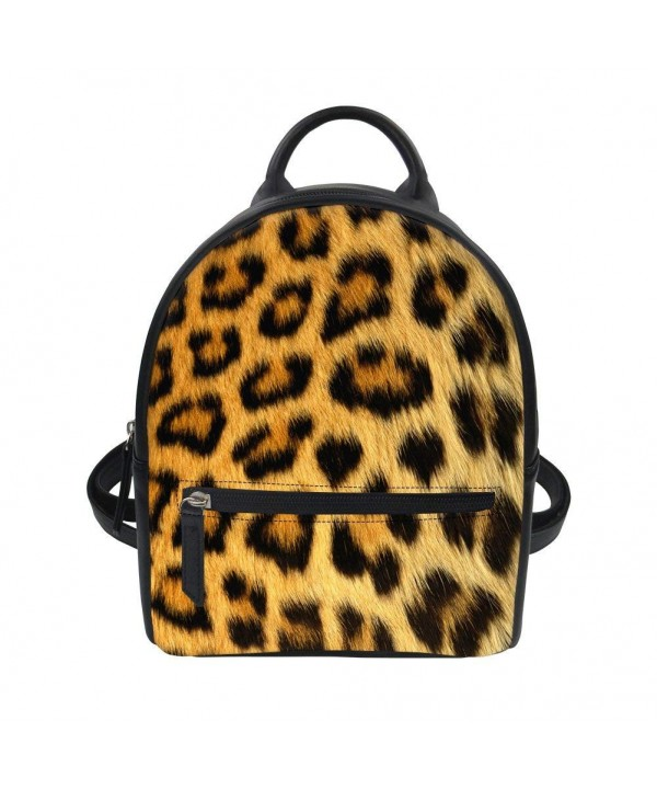 Showudesigns Leather Backpack Daypack Leopard