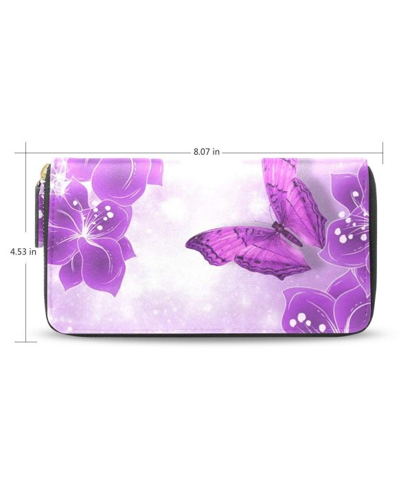 Womens Purple Butterfly Leather Zippered