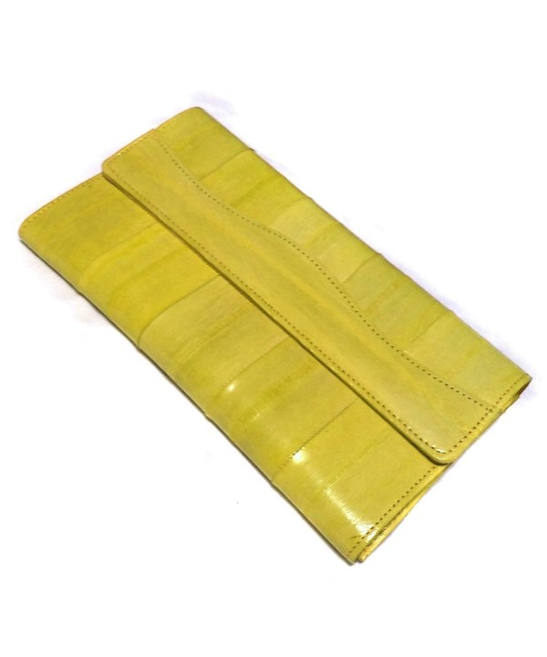 Trifold function natural genuine wallet yellow