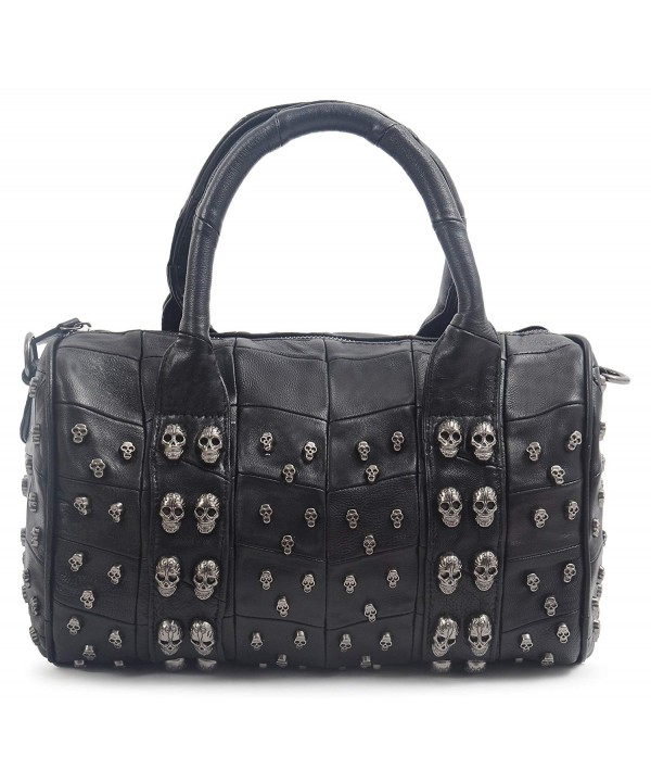 Studded Leather Shoulder Bowling Handbag