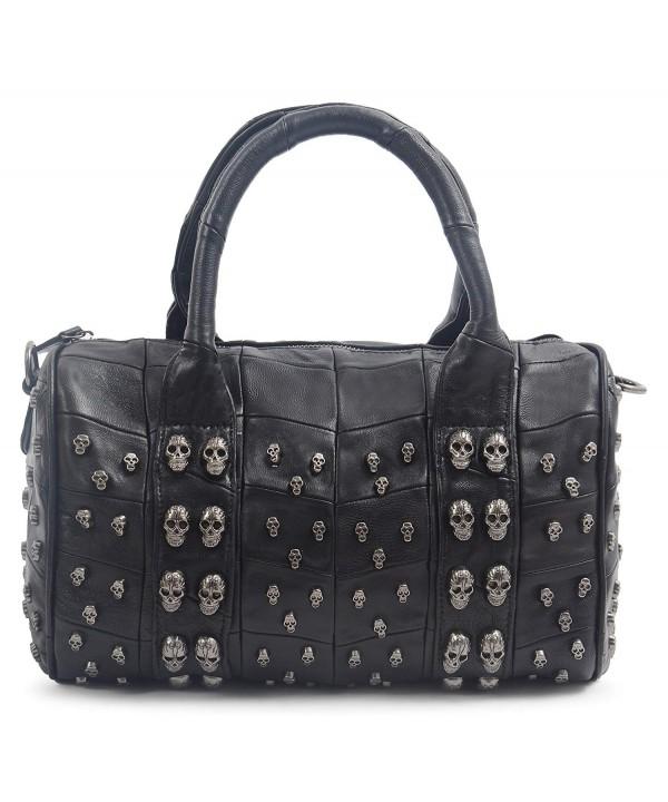 Studded Leather Shoulder Bowling Handbag