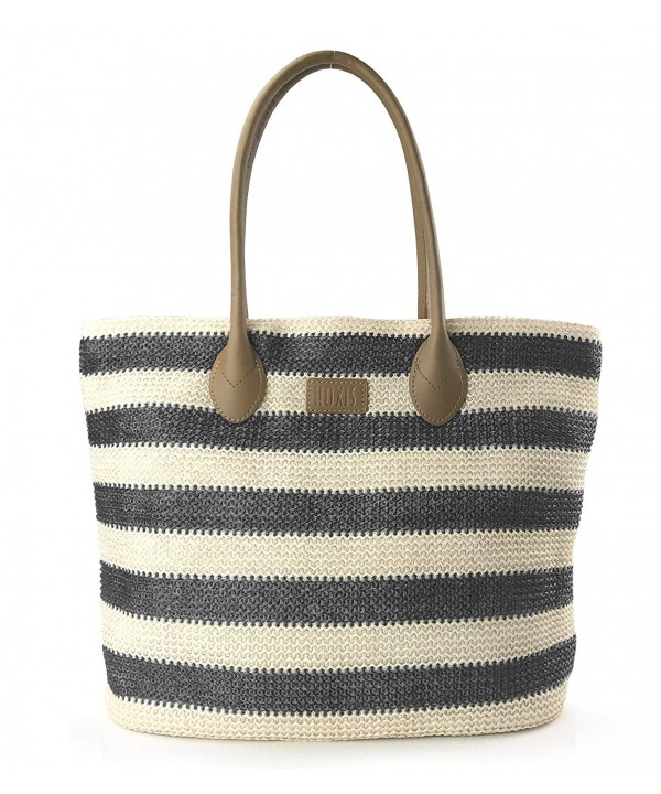 Striped Synthetic Vaction Shoulder Handbag