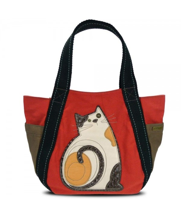 Carryall Canvas Handbag Zipper Cat Orange