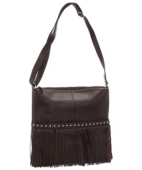 Leather Fringe Hobo Handbag Brown