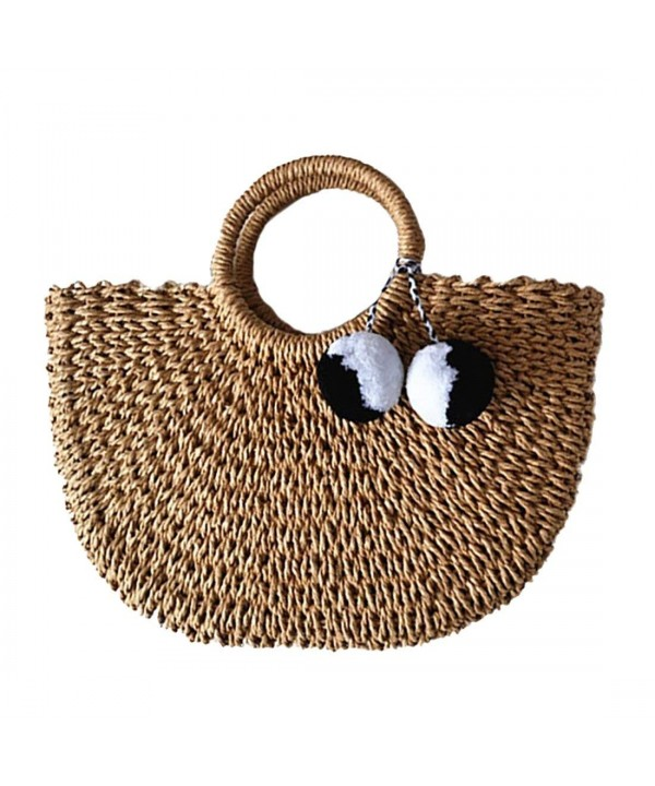 Hand woven Straw Large Handle Summer