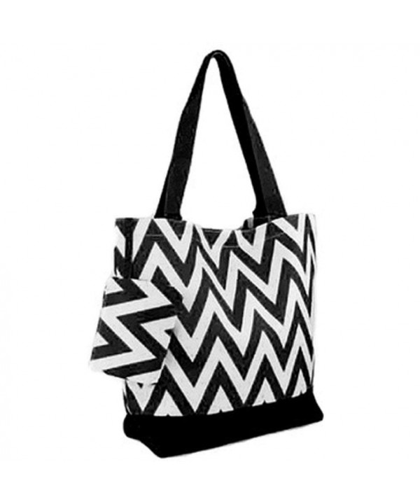 Canvas Bucket Shoulder Purse Chevron