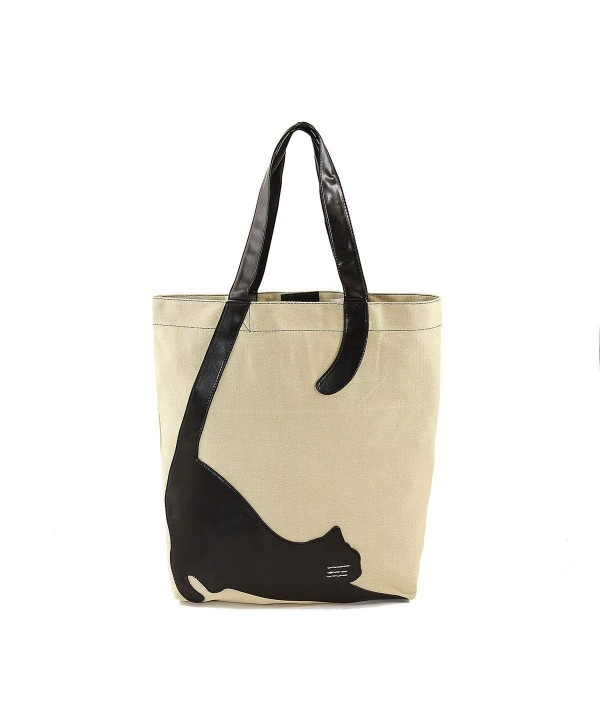 Stretching Cat Silhouette Canvas Tote