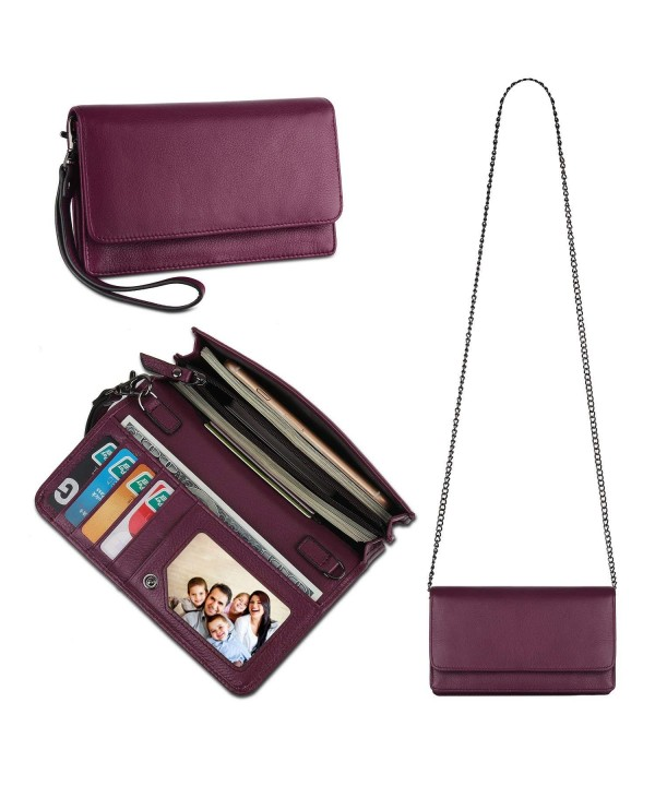 Womens Leather Wristlet Crossbody Blocking