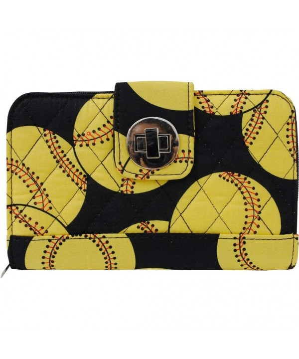 Softball Print Quilted Twist Wallet