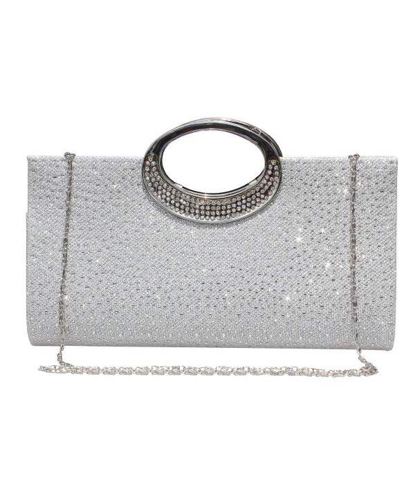Rhinestone Frosted Handbag Evening Purse ilver###Designer Women's Evening Handbags Clearance Sale