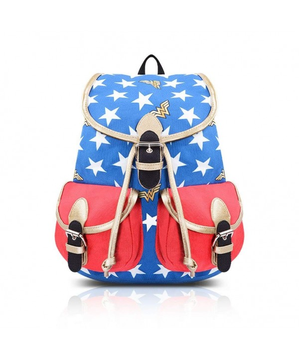 Women S Cool Wonder Woman Canvas School Backpack Bookbag Blue Red C118322nnk8
