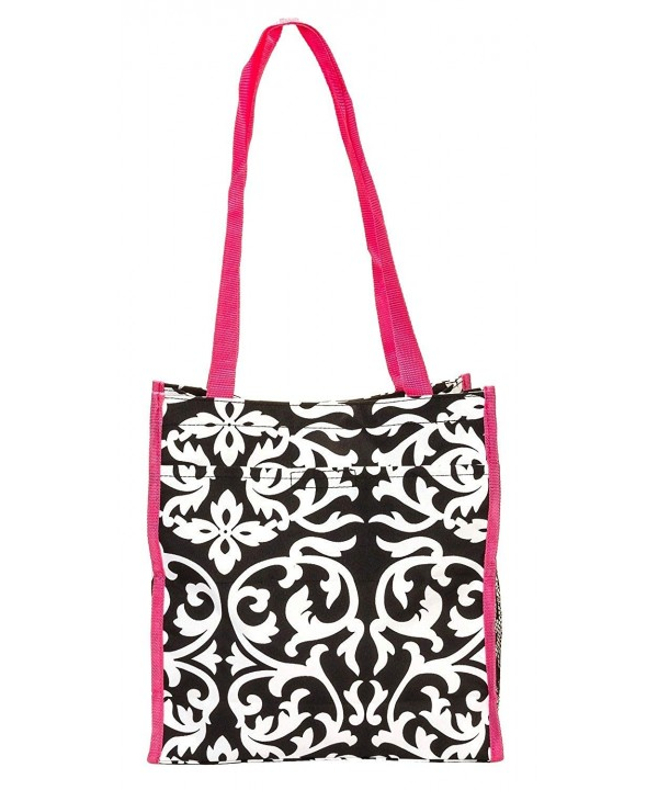 Damask Tote Hot Pink Trim