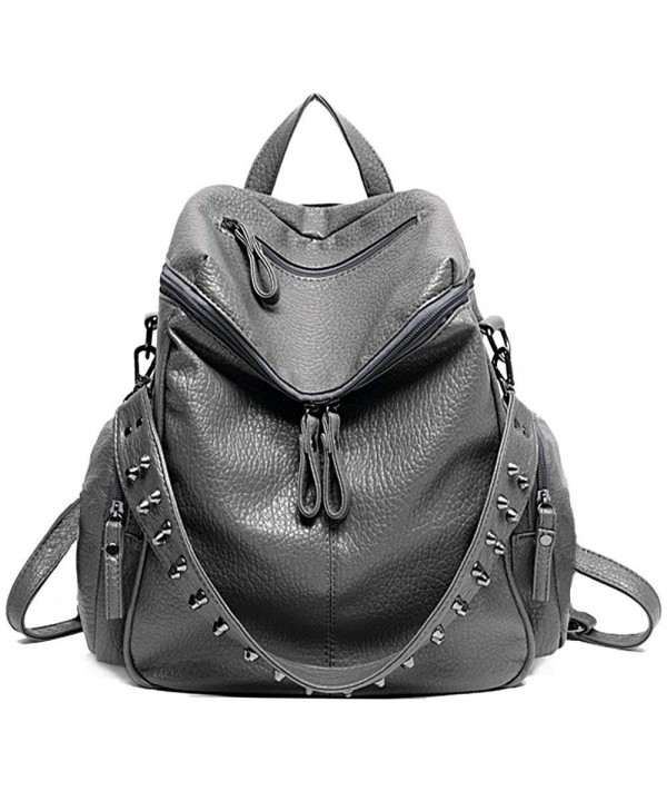 84634cb6bfd Women Backpack Purse 3 ways PU Washed Leather Rivet Studded Ladies ...