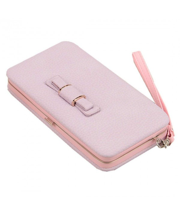 Litchi Leather Cellphone Wristlet Handbag