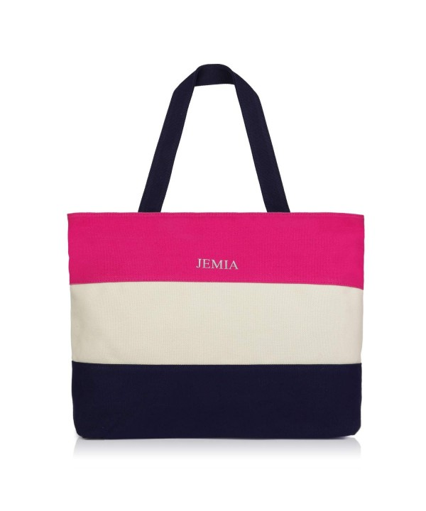 JEMIA Canvas Tote Bag Zipper