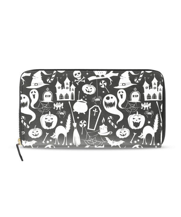 Womens Zipper Wallet Halloween Pumpkin