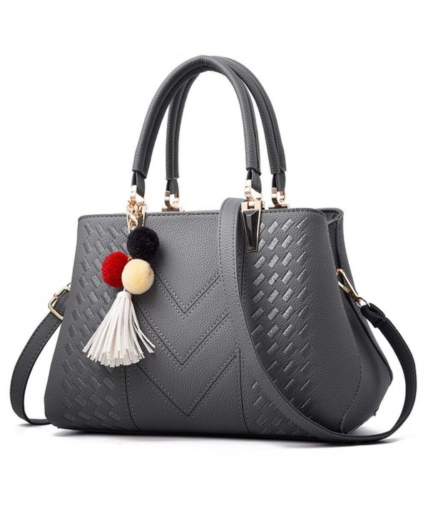 Z joyee Handbag Leather Shoulder Grey